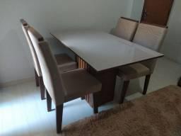 Conjunto de Mesa com 4 Cadeiras para Sala de Jantar 130x80