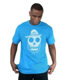Camiseta Bleed American Beard Skull Turquesa Masculina Curta