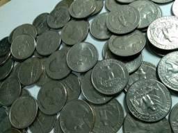 Lote moedas EUA 210 moedas