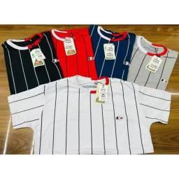 Título do anúncio: Camiseta Masculina Algodão Camisa alta qualidade Listras verticais moda top