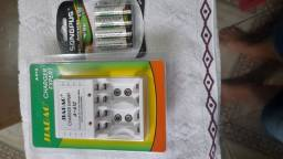 Pilhas recarregaveis com carregador zerada