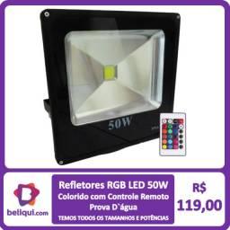 Título do anúncio: Refletor LED - Holofote - RGB com Controle | 50W