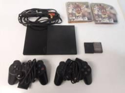 Título do anúncio: PlayStation 2, desbloqueado, 2 controles, 2 memory card, 24 jogos