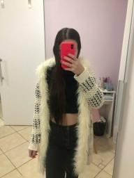 Casaco de tricot com pelo