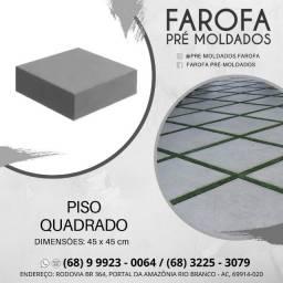 Piso quadrado liso em concreto pré moldado