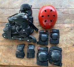Kit Patins Roller, capacete, proteção completa joelho/cotovelo/mão