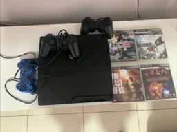 PS3 SLIM + Jogos + 3 Controles