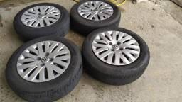 Jogo de rodas com pneus aro 14 furação 4 X 100mm
