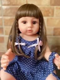 Linda Bebê Reborn toda em Silicone realista Cabelão Nova 55cm Original (aceito cartão)