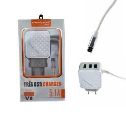 Carregador de Celular Rápido Micro USB (V8) 5.1A Hmaston