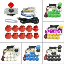 Kit Arcade Promoção Zero Delay tipo Sanwa para PC, PS3, PS4, Linux, Rasp, MAC, Android...