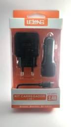 Carregadores de Smartphone Lelong + Veicular+ Cabo de Dados - Tipo-V8 - Tipo-C e Iphone