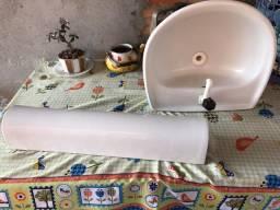 Pia de banheiro completa (com torneira e válvula)