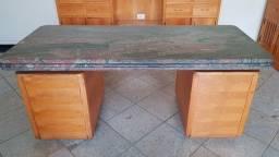 Mesa diretoria tampo granito c/6 gavetas