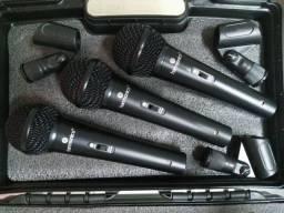 Kit 3 Microfones Dinâmicos com Fio Harmonics MDU 201