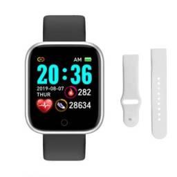 Smartwatch D20 Monitor Frequência cardíaca - Prata