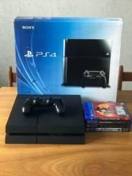 PS4 Slim 500GB + 1 controle + 4 jogos
