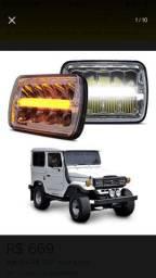 Faróis Full led Jeep Bandeirante / Troller