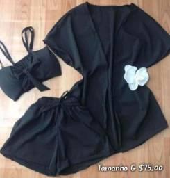 Conjunto de short cropped e kimono