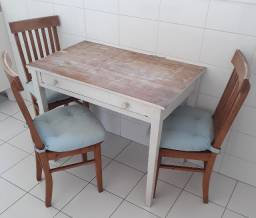 Mesa Madeira Natural com 3 Cadeiras