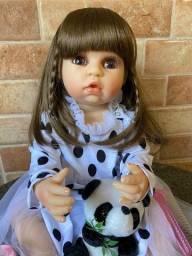 Bebê Reborn toda em Silicone realista cabelão 55cm Nova (aceito cartão )