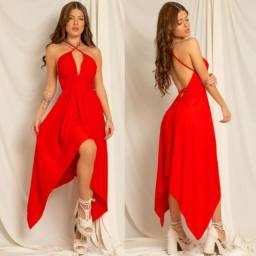 vestido decotado viscose envelope alcinha