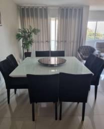 Título do anúncio: Mesa laca branca com 8 cadeiras veludo preto e detalhes espelhados