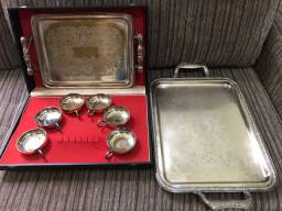 Kit Coleção bandejas e taças de sobremesa de prata