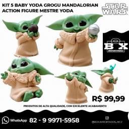 Kit com 5 Bonecos do Baby Yoda Grogu Mandalorian