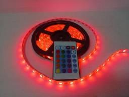 Fita de led 16 cores RGB 5050 com controle e fonte