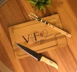 Kit para Churrasco em Bambu - 3 peças Personalizado