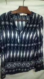 Blusa social feminina, azul marinho, tamanho M, marca charm lady