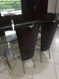 Mesa  com 6 cadeiras  de vidro compés ce inox