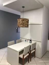 Conjunto de mesa de jantar com painel e luminária pêndulo