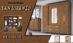 Guarda Roupa San Lorenzo com espelho - Frete Grátis para Arapongas e região