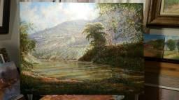 Quadro Paisagem com Rio , Tela 60x80, sem moldura. Pintor Cesar Henriques, premiado .