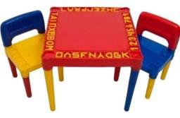 Mesa Mesinha Infantil Com 2 Cadeira Educativa Para Crianças - Vermelha ou Rosa- Tritec