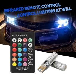 2 Pçs Lâmpada LED Lateral de Carro T10 W5W 501 6 SMD RGB em 7 Cores com Controle Remoto