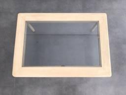 Mesa de centro em madeira maciça mogno pintura patina