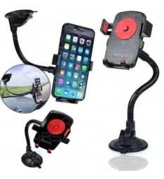 Suporte de Celular e GPS Veicular para Parabrisa de Carro com Ventosa e Trava Automática