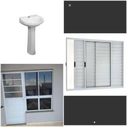 Porta + Janela (conjunto de alumínio) - Janela Veneziana de Alumínio - Pia para banheiro