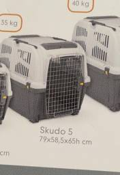 Caixa de transporte para cães, bebedouro e bandeja de alimentação