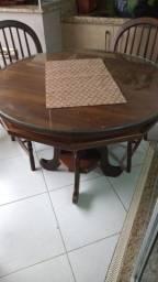 Título do anúncio: Mesa redonda madeira maciça e um rack madeira macica