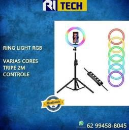 Ring Light Luz de Led RGB Colorido 10 Polegadas 26cm cOM Tripe 2m