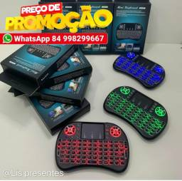 Mini teclado com sensor mouse e led sem fio para TV Box e smart TV<br>
