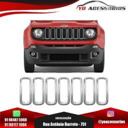 Aplique Cromado De 7 Aros Da Grade Frontal Jeep Renegade