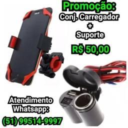 Suporte com Elástico + carregador USB moto