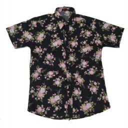 Camisa Social Floral Manga Curta Estampada Praia