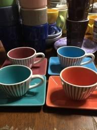 Conjunto 04 xícaras café com pires