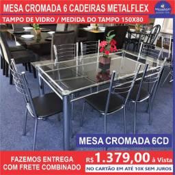 Mesa Cromada 6 Cadeiras Tampo De Vidro 150/80